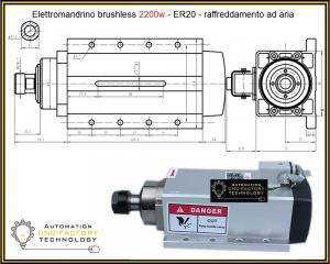ELETTROMANDRINO BRUSHLESS 2.2Kw FLANGIATO AIR COOLED