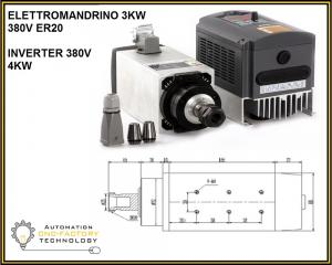 KIT ELETTROMANDRINO BRUSHLESS 3.0 Kw ER20 AIR COOLED + INVERTER 4,0 KW