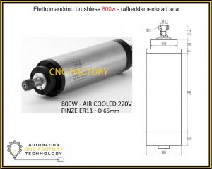 ELETTROMANDRINO BRUSLESS 800W AIR COOLED